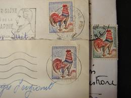 LetDoc. 565. Lettres, Coq De Décaris N°1331. Fond Vert, Rouge Prononcé Sur La Queue Du Coq - 1962-65 Coq De Decaris