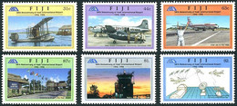 Fiji Fidji 1996 Nadi Airport Aéroport Supermarine Channel Mk II Hydravion, Douglas DC-4, Boeing 707, 747, Qantas - Aerei