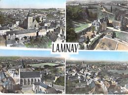 72 -  LAMNAY : Multivues Aériennes - CPSM Village ( 960  H ) Dentelée Colorisée Grand Format 1963 - Sarthe - Sonstige Gemeinden