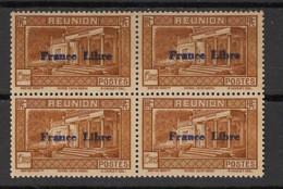 Réunion - 1943 - N°Yv. 207 - France Libre - Musée Dierx 1f25 - Bloc De 4 - Neuf GC ** / MNH / Postfrisch - Unused Stamps