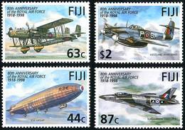 Fiji Fidji 1998 Royal Air Force 80 Years Handley-Page Heyford, Supermarine Swift, Westland Whirlwind, Beardmore R-34 RAF - Airplanes