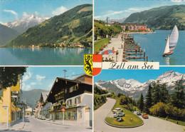 1144) ZELL Am SEE - Tolle Mehrbild AK Mit AUTO DETAILS Segelboot Straße U. Geschäft TOP ! - Zell Am See