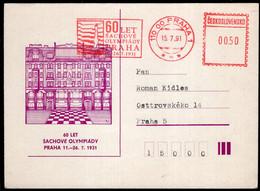 Tchécoslovaquie - 1991 - Entier Postale - Cachet Spécial - Enveloppe Thématique - Tournois - Thème Des échecs - A1RR2 - Cartas
