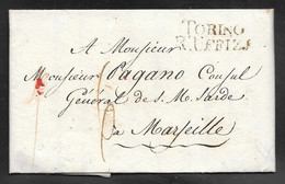 Italy - 1817 Entire Letter - Torino To Marseille France - 1. ...-1850 Prephilately