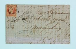 LAC 1862 Paris Pour Nuremberg, Affr. 40c Type Empire ND, Losange Et Tad Bureau A - 1849-1876: Période Classique