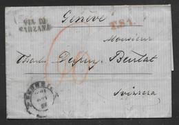 Italy - 1856 Entire Letter - Firenze To Geneva Switzerland Via Torino - Tuscany