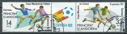 Andorre Espagnol YT N°149A Coupe Du Monde De Football Espana 82 (Triptyque Se-tenant) Oblitéré ° - Used Stamps