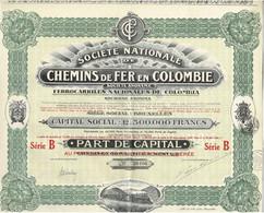 Titre Ancien - Société Nationale De Chemins De Fer En Colombie - Titre De 1924 - Déco - N° 58406 - Railway & Tramway
