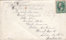 Sc#147 (or #158?) 3c Green Washington On Cover To Barnesville Ohio C1870, Interesting Address - Cartas
