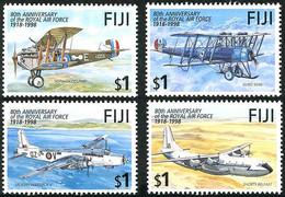 Fiji Fidji 1998 Royal Air Force 80 Years Short Belfast, Vickers Warwick, AVRO 504-K, Sopwith Dolphin - Airplanes
