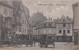 CPA Schlettstadt Sélestat  (67) RARE  Barbaraplatz  Weinstube Bleger Charcuterie Kuntz  Char Avec Cheval ,  Ed Reitz - Selestat