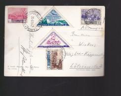5   Timbres  San Marino    Posta Aérea    Sur Carte Postale Année 1952  Carte Abimée - Briefe U. Dokumente