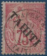 France Colonies TAHITI N°17 75c Rose Oblitéré De Papeete Superbe & Signé Calves - Used Stamps