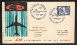 Denmark - 1960 SAS Jet Flight Cover Douglas DC8 - Copenhagen To Los Angeles - Covers & Documents
