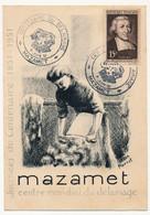 """FRANCE - MAZAMET - Carte Commémo """"Centre Mondial Du Délainage"""" - Cachet Temporaire 8 Juin 1951 S/15F De La Salle - Matasellos Conmemorativos"""