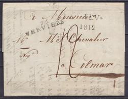 """L. Datée 1e Février 1812 De HODIMONT Pour COLMAR - Cachet Date """"1 FEV */1812"""" & Griffe """"96 / VERVIERS"""" - Port """"12"""" - 1794-1814 (Französische Besatzung)"""
