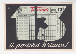 """Card Cartolina Pubblicitaria """"Totocalcio"""".non Viaggiata Italy Italia - 1946-60: Storia Postale"""