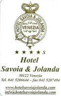 ITALIA KEY HOTEL   Hotel Savoia & Jolanda **** VENEZIA - Cartes D'hotel