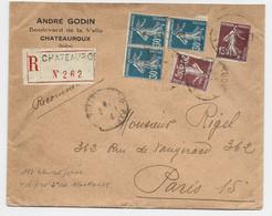 SEMEUSE 30C BLEU BLOC DE 3+20C+15C LETTRE REC CHATEAUROUX 1925 TARIF 2EME - 1906-38 Sower - Cameo