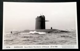 """SOUS-MARIN """" EMERAUDE """" - Carte Photo Marius BAR Toulon - Submarinos"""