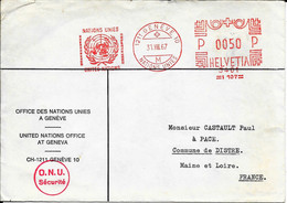 OBLITERATION MECANIQUE  Sur Lettre - GENEVE - OFFICE DES NATIONS UNIES -  31 Aout 1967 - Circulé Pour La France - Postmark Collection