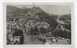 (RECTO / VERSO) LOURDES EN 1955 - N° 29 - VUE GENERALE PRISE DU CHATEAU FORT - BEAUX TIMBRES - FORMAT CPA - Lourdes