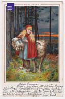 CP Suède 1902 Chaperon Rouge Forêt Loup Fille Fillette - Little Red Riding Hood Wolf Girl - Axel Eliassons D2-319 - 1900-1949