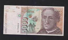 ESPANA / SPAIN / SPAGNA - BANCO De ESPANA - 5000 PESETAS (1992) - C. COLON - [ 4] 1975-…: Juan Carlos I.