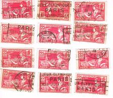 LOT DE 12 TIMBRES JEUX OLYMPIQUES 1924 OBLITERES - - Usados