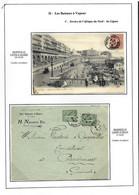 """Cartes Postales Et Lettre Avec CAD """"Marseille Ligne D'Alger"""", """"Marseille Ligne D'Oran"""" Et Marseille Ligne De Tunis"""" - Posta Marittima"""