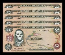 Jamaica Lot Bundle 5 Banknotes 2 Dollars 1993 Pick 69e SC UNC - Jamaica