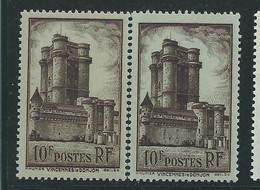 [42] Variété : N° 393 Donjon De Vincennes Brun Sur Jaune Au Lieu De Brun Sur Azuré + Normal ** - Variétés: 1931-40 Neufs