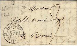 1862- Lettre Cursive Double 21 / Matignon / PLANCOET  ( Côtes Du Nord ) + Cad T12 PLANCOET Taxe 3 D Pour Rennes - 1801-1848: Vorläufer XIX