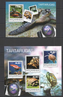 ST2436 2014 MOZAMBIQUE MOCAMBIQUE FAUNA REPTILES TURTLES TARTARUGAS KB+BL MNH - Turtles