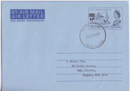 Aérogramme 4p/9d M.F.V. Gillian Gaggings Obl. Tristan Da Cunha Le 14 FEB 71 - Tristan Da Cunha