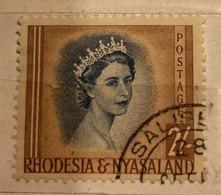 REF. 1 - RHODESIA NYASALAND -REGINA - 1954 - USATO - Rhodesien & Nyasaland (1954-1963)