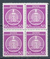 DDR Dienstmarken A 14 X XII Viererblock ** Mi. 28,- + - Service