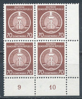 DDR Dienstmarken A 16 X XII Viererblock ** Mi. 24,- + - Service