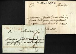 """Marque Postale """"Vincennes"""" (1782 - Rouge - L N°2a - 47 X 5mm, Ind 14, Et Noire L N°2 - 47 X 5mm, Ind 17 - Sans Date). TB - ....-1700: Precursori"""