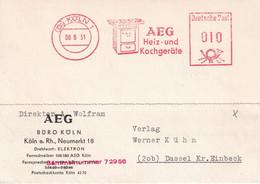 BUND 1951 CARTE EMA DE KÖLN - Affrancature Meccaniche Rosse (EMA)