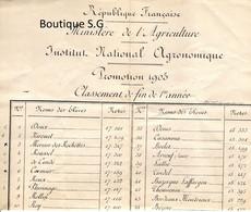 Ministere De L Agriculutre Promotion 1905 Classement De Fin De 1 Er Année Institut National Agronomique Republique - Historische Documenten