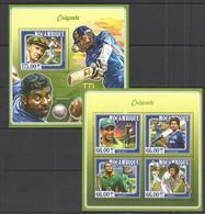 WW677 2015 MOZAMBIQUE MOCAMBIQUE SPORT CRICKET CRIQUETE PLAYERS BRADMAN AKRAM KHAN KB+BL MNH - Cricket