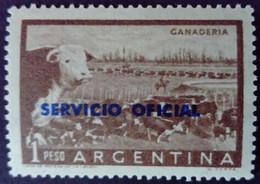 Argentine Argentina 1955 Bétail Cattle Vache Cow Bull Taureau Surcharge Overprinted SERVICIO OFICIAL Yvert S385 * MH - Oficiales