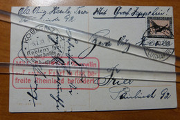 Luftschiff Postkarte Graf Zeppelin   06-07-1930 KOLN Flughaven >KOBLENZ Lucht Foto Ballon-§ - Luchtpost