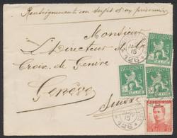 """Pellens - N°108 X3 + 123 Sur Lettre """"Renseignement Au Sujet D'un Prisonnier"""" Obl Trésor & Postes 126 (1915) > Genève (Su - Belgische Armee"""