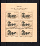 1958 Poland Polen Pologne, Mi. 1072, Fi. 927, ** MNH  KB Sheet,LUXUS-Erhaltung (Abo), 400 Jahre Polnische Post, S.Scan - Unused Stamps