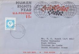 Aérogramme U.S.A. (vol D'oiseaux) Obl. Syosset Le 7/6/76, Taxé 5p à Tristan Da Cunha Le 8 NOV 76 - Tristan Da Cunha