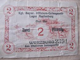 ZWEI PFENNIG - WÜRZBURG - Kgl. Bayer. Offiziers - Gefangenen-Lager Marienberg - Andere