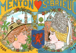 CPM - Illustration Patrick HAMM - Jumelage Cartophile St Brieuc-Menton Rocquebrune Sospel - Hamm