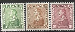 Iceland   1937  Sc#199-201   Christian X Set Of 3   MH  2016 Scott Value $7.50 - Ungebraucht